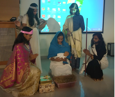 Tableau presented by staff on Birth of Jesus.