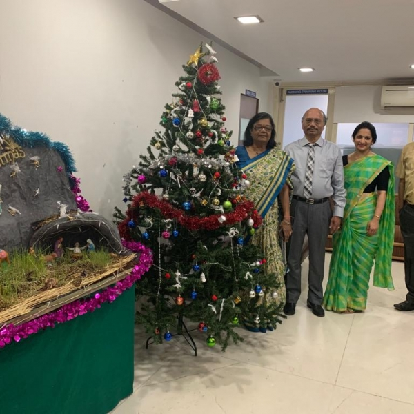 Senior Management Team- (From left to right- Dr. Geeta Koppikar-Medical Director, Mr. Santhanam-CEO, Ms. Prajakta Hindlekar- Nursing Director and Dr. Sunil Bandekar- Medical Director) greeting staff in their respective departments for New Year wishes.